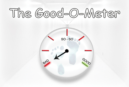 The Good-O-Meter gospel tract is white looking with a long white hallway. There is a round scale with footprints on it. The scale measures whether you are a good person or a bad person.